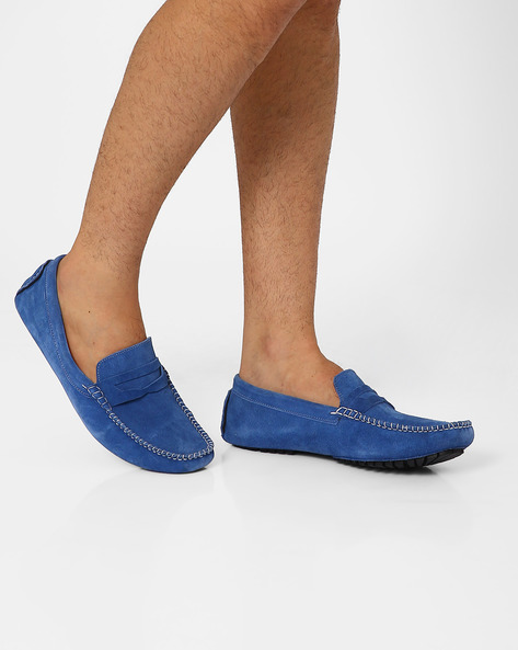 Genuine Suede Leather Loafers By AJIO ( Blue )