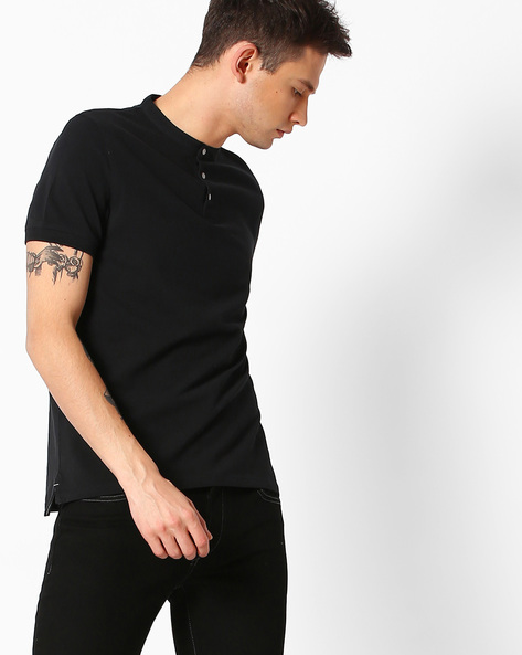 T-shirt With Band Collar By SELECTED ( Black )