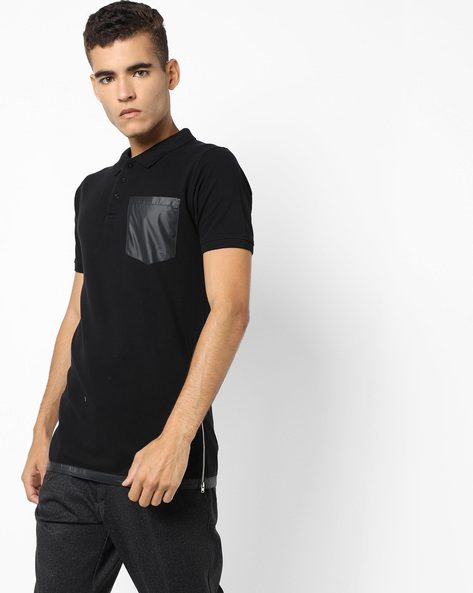 Longline Polo T-shirt With Zip Detail By KULTPRIT ( Black )