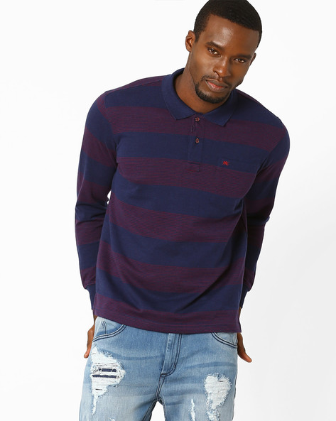 Striped Polo T-Shirt By MONTE CARLO ( Blue )