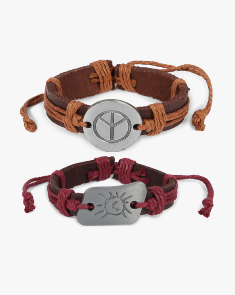 Pack Of 2 Bracelets By ALPHA MAN ( Maroon ) - 460134364001