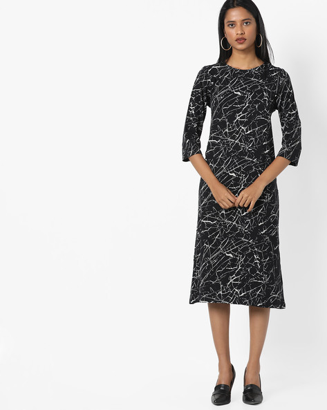 All-Over Digital Print Shift Dress By Project Eve WW Athleisure ( Black )