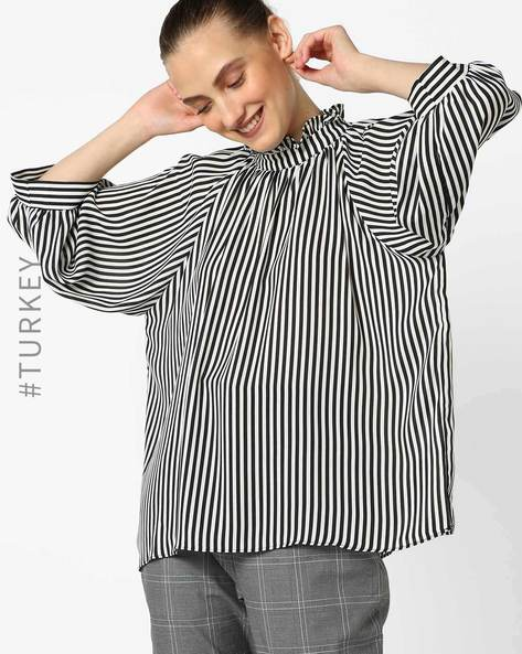 Striped Top With Ruffled Neckline By TRENDYOL ( Black )