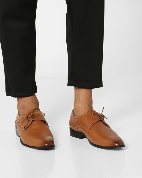 Lace-Up Leather Formal Shoes By Buckle Up ( Tan )