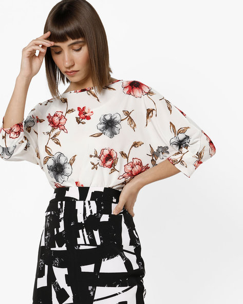 Floral Print Top With Extended Sleeves By And ( Assorted )