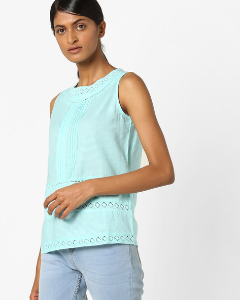 Pintucked Top With Lace Inserts By RIO ( Aqua )