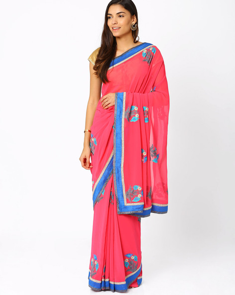 Embroidered Georgette Saree By Vishal Prints ( Pink )