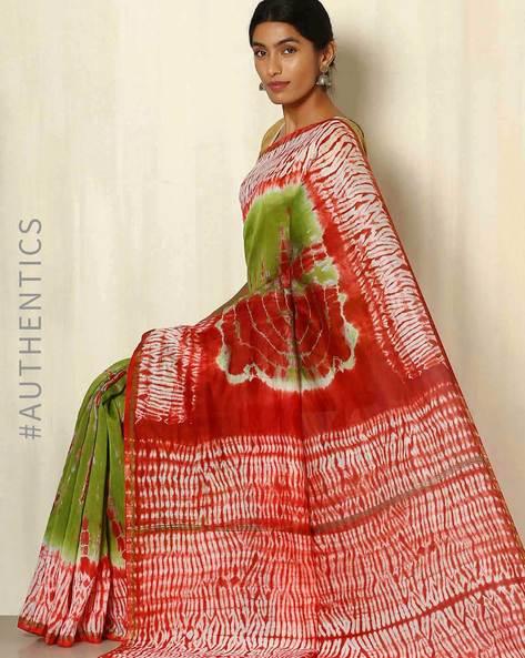 Shibori Tie & Dye Chanderi Saree With Zari Border By Indie Picks ( Multi )