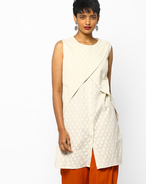 Sleeveless Tunic With Overlap Front By PE IW Fusion ( Offwhite )