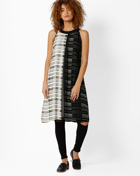 Striped Tunic With Pintucks By Biba ( Black )