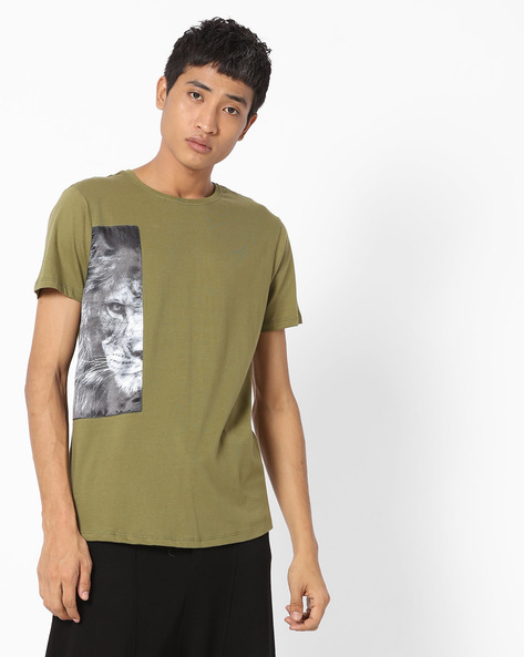 Crew-Neck T-shirt With Printed Patch By AJIO ( Olive )