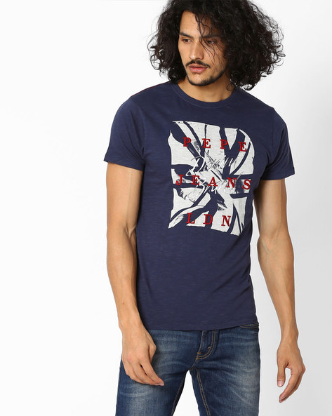 Printed Slim T-shirt By Pepe Jeans ( Navy )