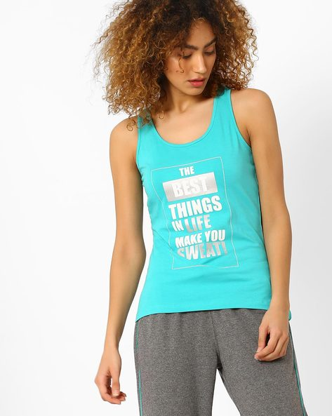 Graphic Print Racerback Tank Top By AJIO ( Teal )