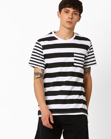 Striped Slim T-shirt With Patch Pocket By AJIO ( Black )