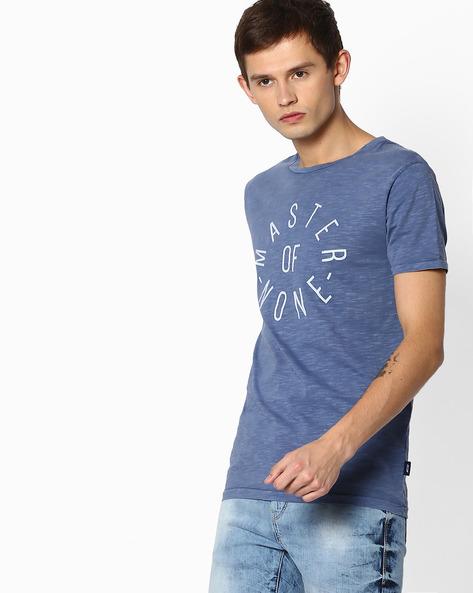 Crew-Neck Slim T-shirt With Typographic Print By Jack & Jones ( Lightblue )