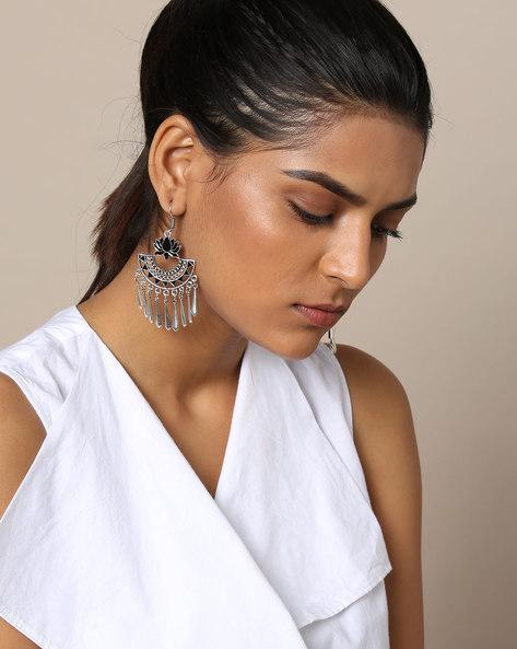 Lotus Enamel Drop Earrings By Rubans ( Silver )