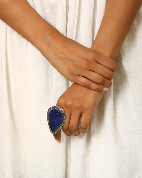Afghani Antique Adjustable Ring By Indie Picks ( Blue )