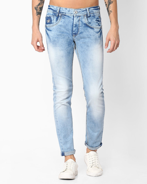 Skinny Mid-Washed Jeans By MUFTI ( Lightblue )