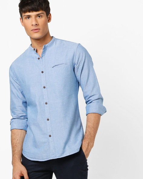 Slim Fit Shirt With Band Collar By AJIO ( Navy )