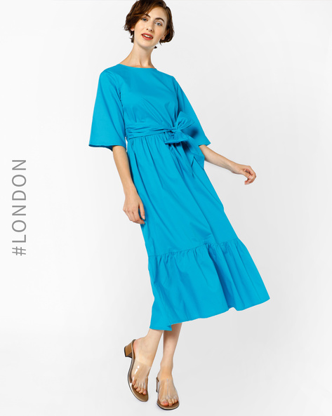 A-line Dress With Front Tie-Up By Closet London ( Blue )