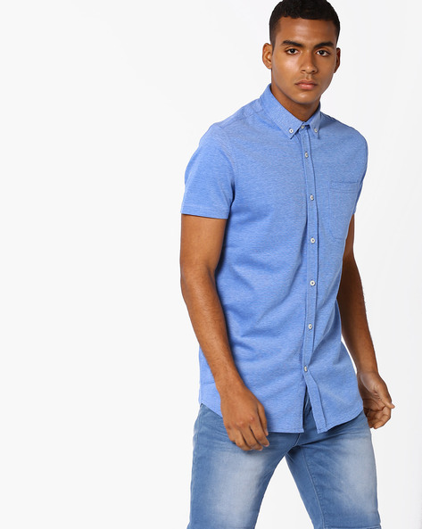 Shirt With Patch Pocket By Jack & Jones ( Blue )