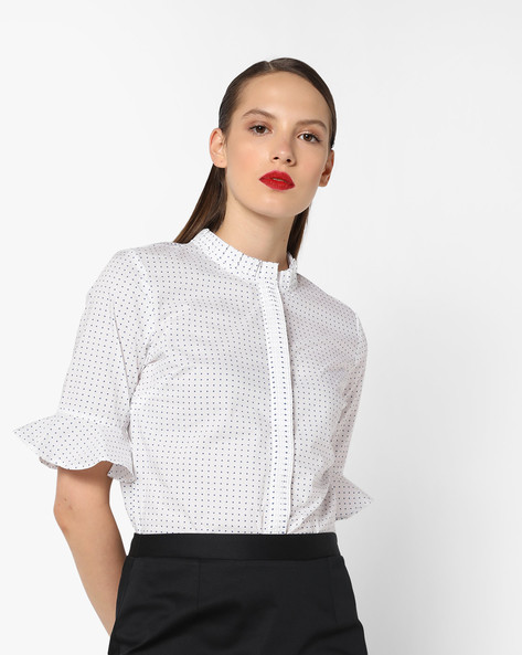 Ditsy Print Cotton Shirt With Flared Sleeves By AJIO ( White )