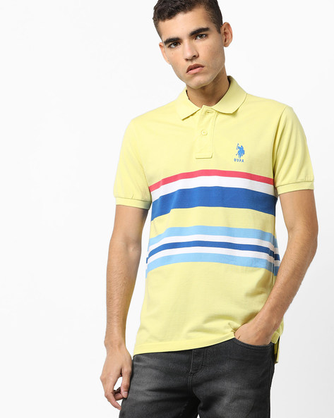 Striped Polo T-shirt By U.S. Polo Assn. ( Yellow )