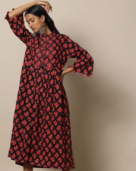 Printed Cotton Pleated Long Dress With Pintucks By Seasons ( Black ) - 460170028001