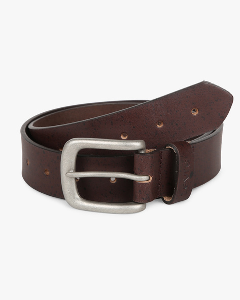 Leather Belt With Buckle Closure By LEVIS ( Black )