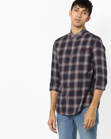 Checked Shirt With Button-Down Collar By ED HARDY ( Blue )