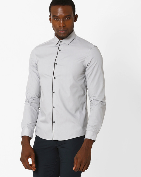 Slim Fit Shirt With Contrast Piping By Celio ( Grey )