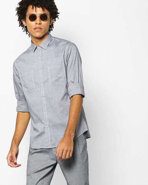 Slim Fit Shirt With Patch Pockets By AJIO ( Grey )