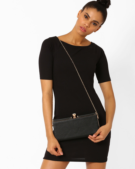 Leatherette Clutch With Detachable Strap By Lino Perros ( Black )