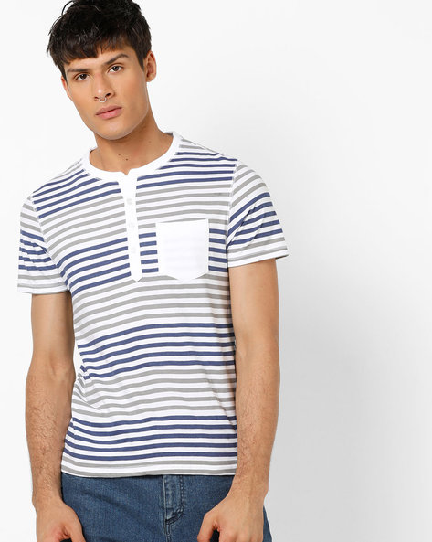 Striped Henley T-shirt With Patch Pocket By AJIO ( White )