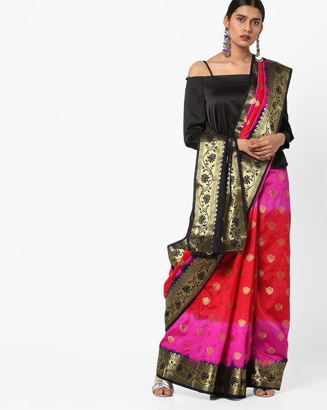 Banarasi Silk Saree With Zari Work By Viva N Diva ( Red )