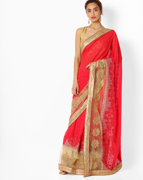 Embroidered Saree With Contrast Border By Majestic Silk ( Pink )