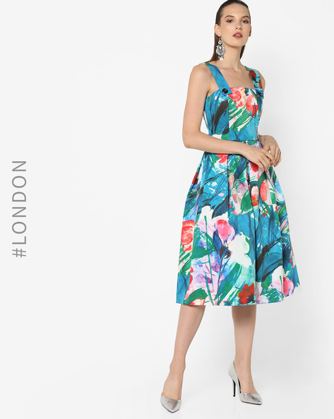 Floral Print Strappy Fit & Flare Dress By Closet London ( Multi )