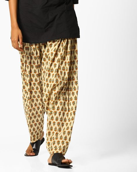 Printed Patiala Pants With Drawstring Waist By AJIO ( Beige )
