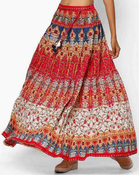 Printed Maxi Skirt With Drawstring By Shree ( Fuchsia )