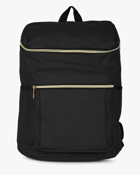 Laptop Backpack With Zip Pockets By AJIO ( Black )