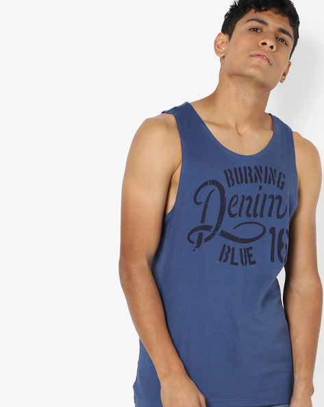 Typographic Print Sleeveless T-Shirt By AJIO ( Blue )