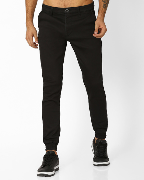 Jogger Jeans With Belt Loops By AJIO ( Black )