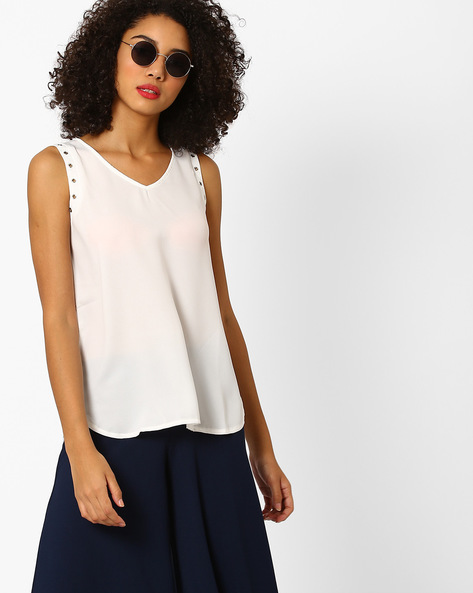 Sleeveless High-Low Top With Eyelets By AJIO ( Offwhite )