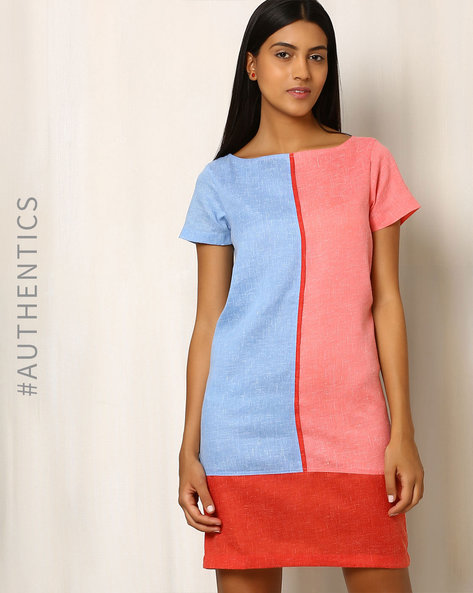 Textured Duet Khadi Cotton Dress By Red Sister Blue ( Red )