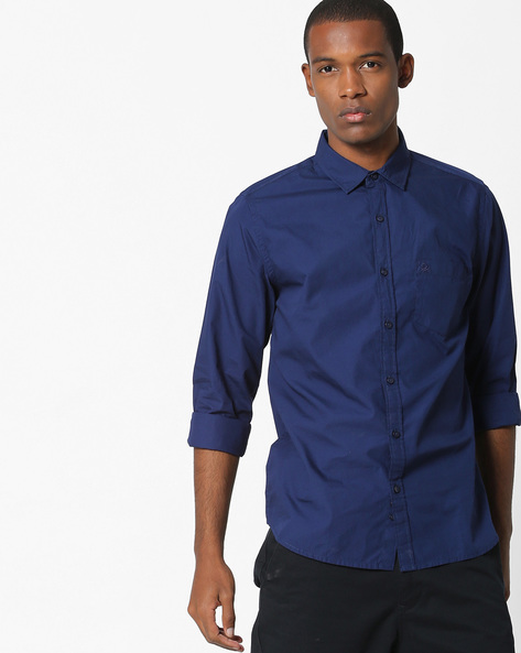 Cotton Poplin Shirt With Patch Pocket By UNITED COLORS OF BENETTON ( Navyblue )