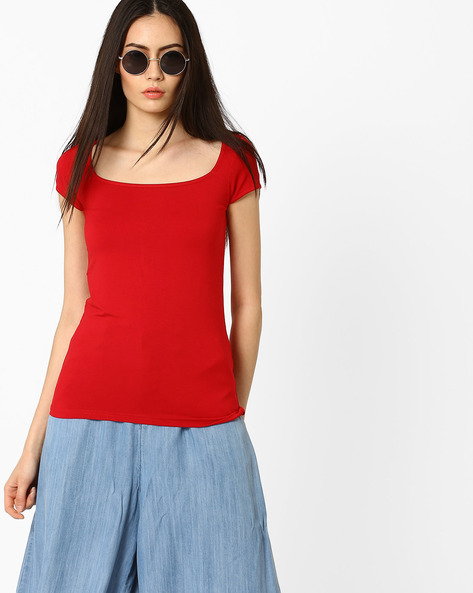 Cotton Top With Scoop Neck By CODE By Lifestyle ( Red )