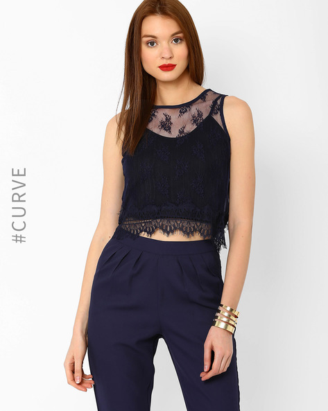 Envelope Back Crop Top By AJIO ( Navyblue )