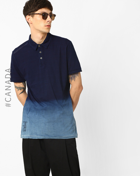 Polo T-shirt With Ombre Effect By Point Zero ( Indigo )