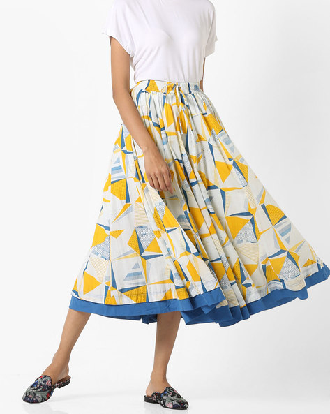 Geometric Print Midi Skirt By Project Eve IW Casual ( Natural )