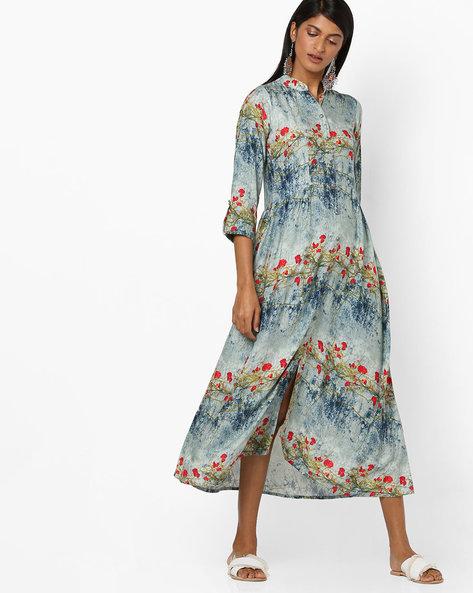 All-Over Print Shirt Dress By Aujjessa ( Blue )